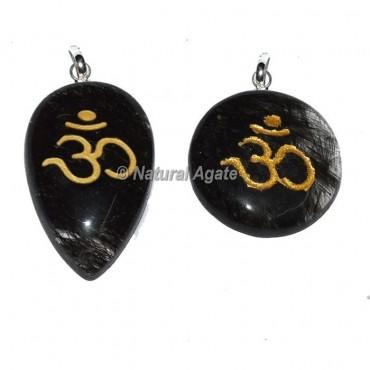 Black Rutile Om pendants