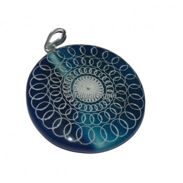 Engraved Round Design Disc Pendants