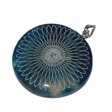 Engraved Star Disc Pendants