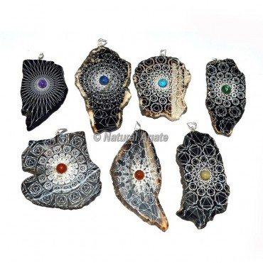 Assorted Stone Engraved Slices Pendants