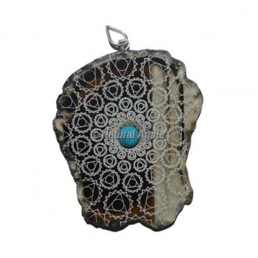 Engraved Throat Chakra Slice Pendants