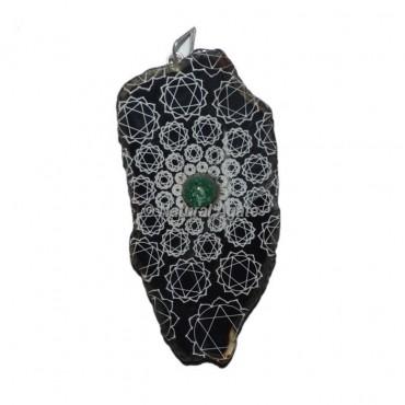 Engraved Heart Chakra Slice Pendants