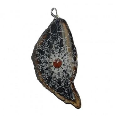 Engraved Spleen Chakra Slice Pendants