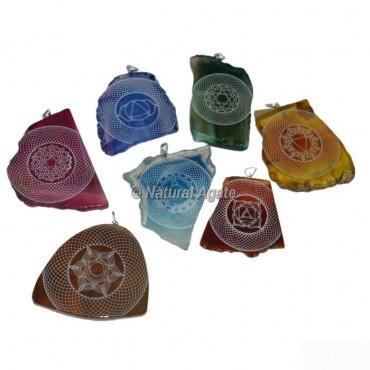 7 Chakra Engraved Slice Pendants Set