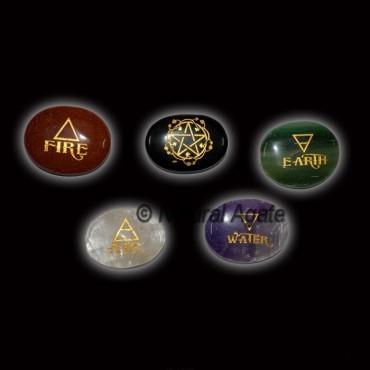 5 Stone Oval Reiki Element Set