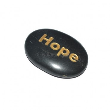 Black Agate Hope Engraved Stone