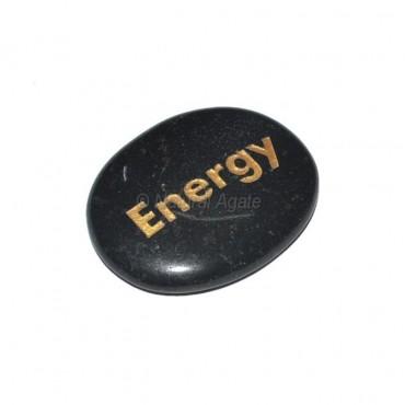 Black Agate Energy Engraved Stone
