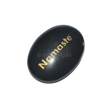 Black Agate Namaste  Engraved Stone