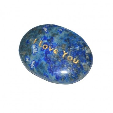 Lapis Lazuli I Love You  Engraved Stone