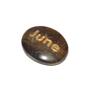 Tiger Eye June Engraved Stone
