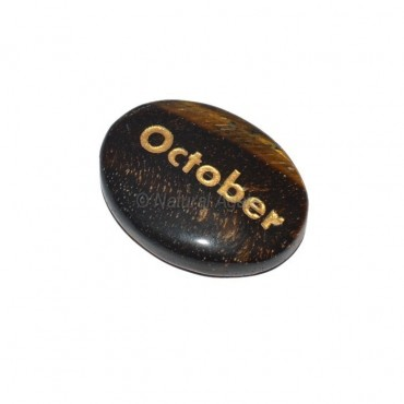 Tiger Eye October Engraved Stone
