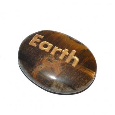 Tiger Eye Earth Engraved Stone
