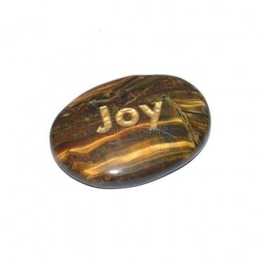 Tiger Eye Joy Engraved Stone