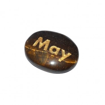 Tiger Eye May Engraved Stone