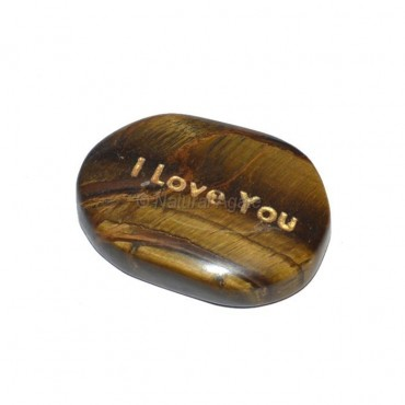 Tiger Eye I Love You Engraved Stone