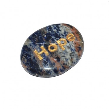 Sodalite Hope Engraved Stone