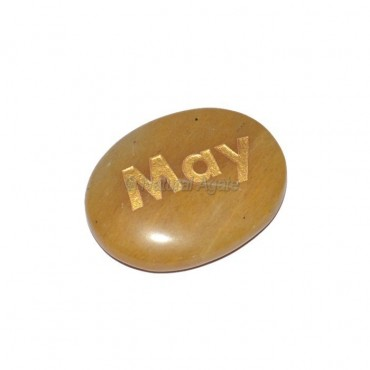 Yellow Jasper May Engraved Stone