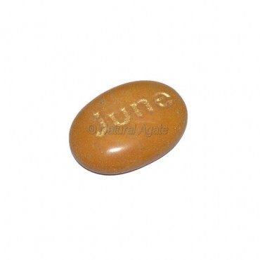 Yellow Jasper June Engraved Stone