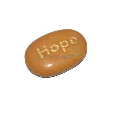Yellow Jasper Hope Engraved Stone