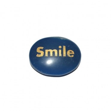 Blue Onyx Smile  Engraved Stone
