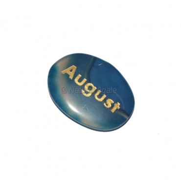 Blue Onyx August  Engraved Stone