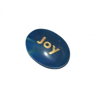 Blue Onyx Joy  Engraved Stone