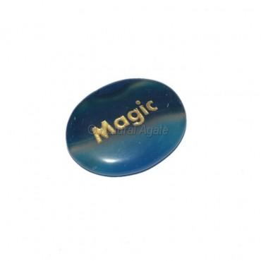 Blue Onyx Magic Engraved Stone