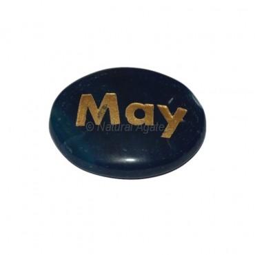 Blue Onyx May Engraved Stone