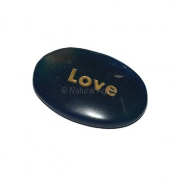 Blue Onyx Love Engraved Stone