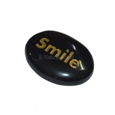 Black Onyx Smile Engraved Stone