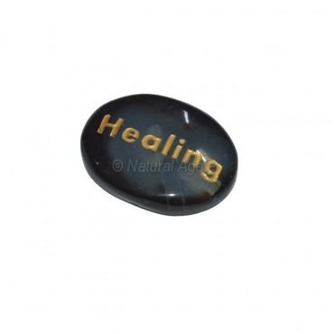Black Onyx Healing  Engraved Stone