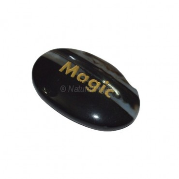 Black Onyx Magic  Engraved Stone