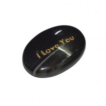 Black Onyx I Love You  Engraved Stone
