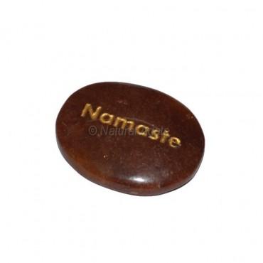 Peach Aventurine Namaste Engraved Stone