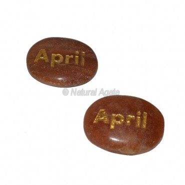 Peach Aventurine April Engraved Stone