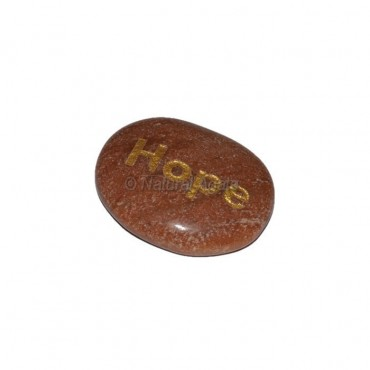 Peach Aventurine Hope Engraved Stone