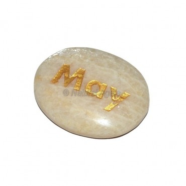 Moon Stone May Engraved Stone