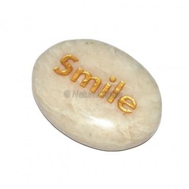Moon Stone Smile Engraved Stone