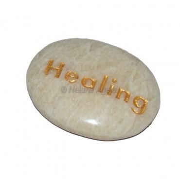Moon Stone Healing Engraved Stone