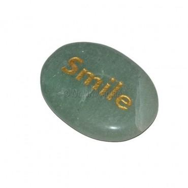 Green Aventurine Smile Engraved Stone