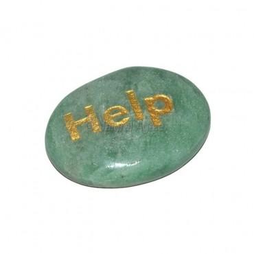 Green Aventurine  Help Engraved Stone
