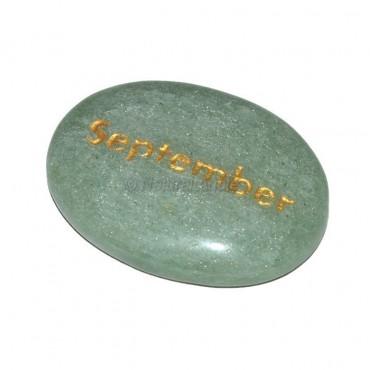 Green Aventurine  September Engraved Stone