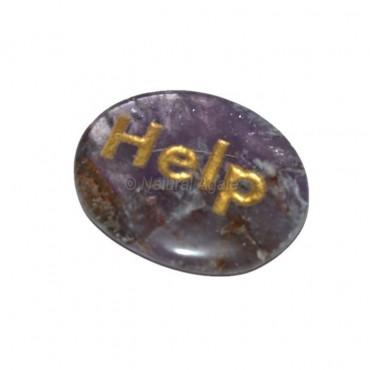 Amethyst Help Engraved Stone