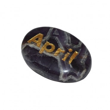 Amethyst April Engraved Stone