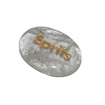 Crystal Quartz Sprits Engraved Stone