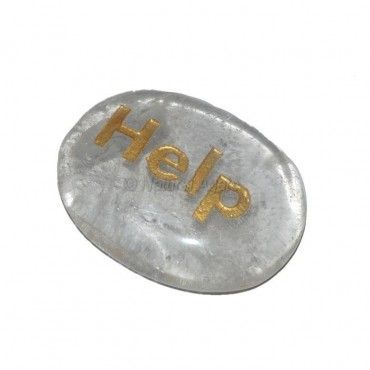 Crystal Quartz Help Engraved Stone