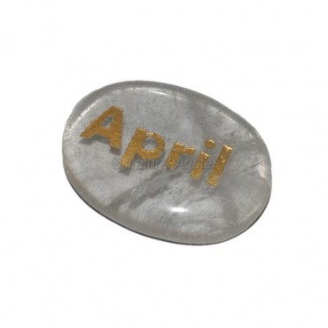Crystal Quartz April Engraved Stone