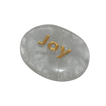 Crystal Quartz Joy Engraved Stone