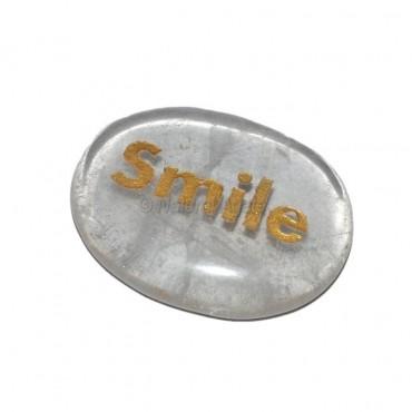 Crystal Quartz Smile Engraved Stone