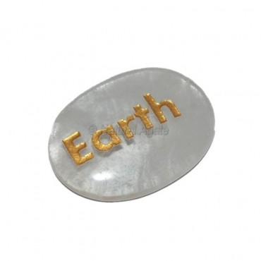Crystal Quartz Earth Engraved Stone